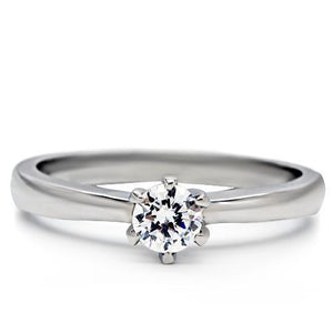 TK203 - High polished (no plating) Stainless Steel Ring with AAA Grade CZ  in Clear