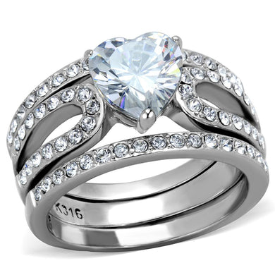TK2041 - High polished (no plating) Stainless Steel Ring with AAA Grade CZ  in Clear