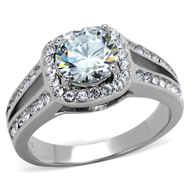 TK2043 - High polished (no plating) Stainless Steel Ring with AAA Grade CZ  in Clear