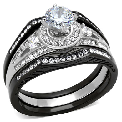 TK2044 - Two-Tone IP Black Stainless Steel Ring with AAA Grade CZ  in Clear