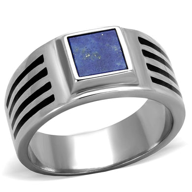 TK2047 - High polished (no plating) Stainless Steel Ring with Precious Stone Lapis in Montana