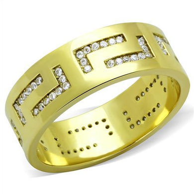 TK2051 - IP Gold(Ion Plating) Stainless Steel Ring with AAA Grade CZ  in Clear
