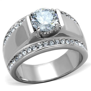 TK2054 - High polished (no plating) Stainless Steel Ring with AAA Grade CZ  in Clear