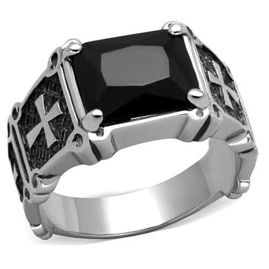 TK2055 - High polished (no plating) Stainless Steel Ring with Synthetic Synthetic Glass in Jet