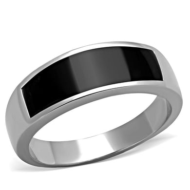 TK2062 - High polished (no plating) Stainless Steel Ring with Epoxy  in Jet