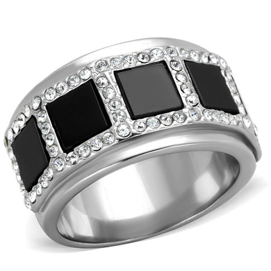 TK2067 - High polished (no plating) Stainless Steel Ring with Synthetic Onyx in Jet