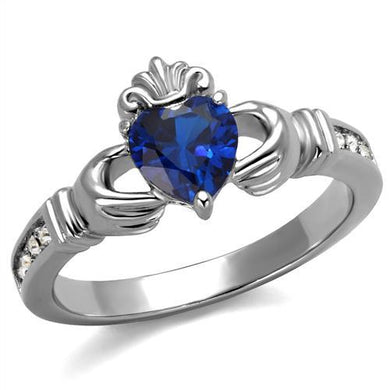 TK2093 - High polished (no plating) Stainless Steel Ring with Synthetic Spinel in London Blue