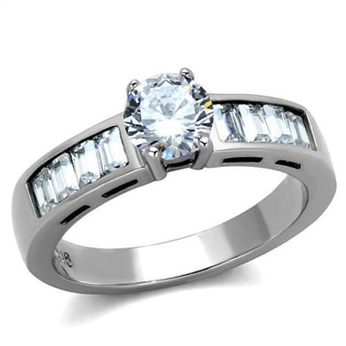 TK2117 - High polished (no plating) Stainless Steel Ring with AAA Grade CZ  in Clear
