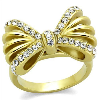 TK2128 - IP Gold(Ion Plating) Stainless Steel Ring with Top Grade Crystal  in Clear