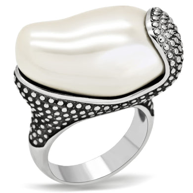 TK212 - High polished (no plating) Stainless Steel Ring with Synthetic Synthetic Stone in White