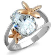Load image into Gallery viewer, TK2135 - Two-Tone IP Rose Gold Stainless Steel Ring with AAA Grade CZ  in Clear