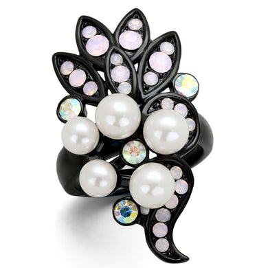 TK2138 - IP Black(Ion Plating) Stainless Steel Ring with Synthetic Pearl in Light Rose