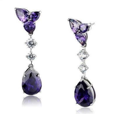 TK2144 - High polished (no plating) Stainless Steel Earrings with AAA Grade CZ  in Amethyst