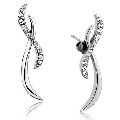 TK2146 - High polished (no plating) Stainless Steel Earrings with Top Grade Crystal  in Clear