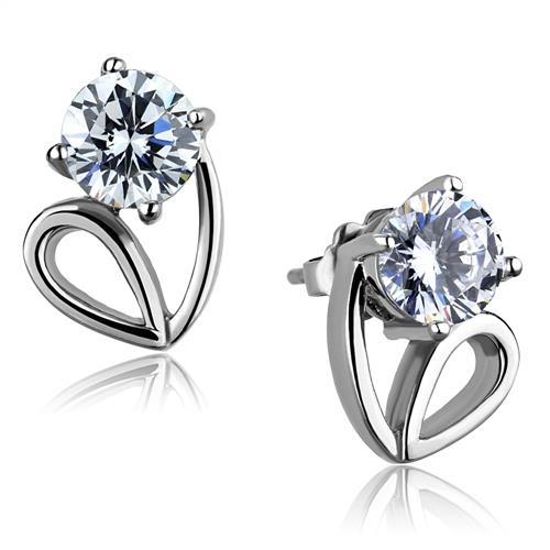 TK2147 - High polished (no plating) Stainless Steel Earrings with AAA Grade CZ  in Clear