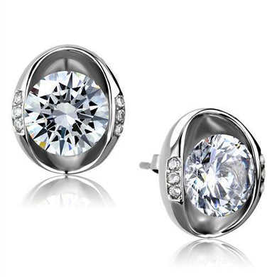 TK2149 - High polished (no plating) Stainless Steel Earrings with AAA Grade CZ  in Clear