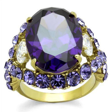 TK2160 - IP Gold(Ion Plating) Stainless Steel Ring with AAA Grade CZ  in Amethyst