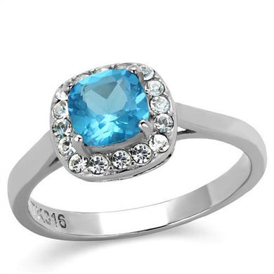 TK2161 - High polished (no plating) Stainless Steel Ring with Synthetic Synthetic Glass in Sea Blue