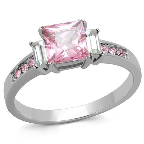 TK2169 - High polished (no plating) Stainless Steel Ring with AAA Grade CZ  in Rose