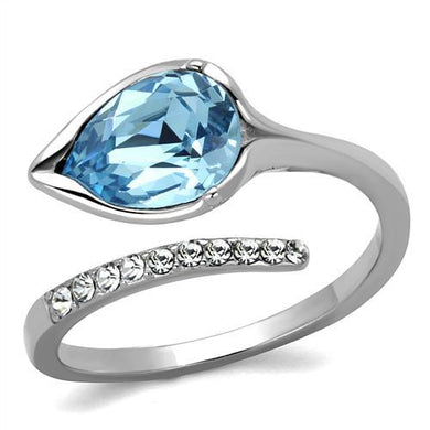 TK2174 - High polished (no plating) Stainless Steel Ring with Top Grade Crystal  in Sea Blue
