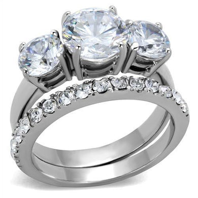 TK2177 - High polished (no plating) Stainless Steel Ring with AAA Grade CZ  in Clear
