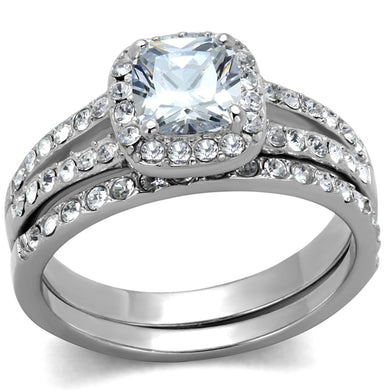 TK2180 - High polished (no plating) Stainless Steel Ring with AAA Grade CZ  in Clear