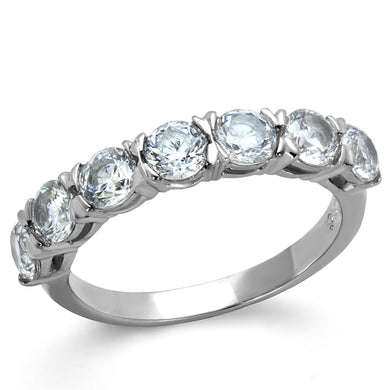 TK2182 - High polished (no plating) Stainless Steel Ring with AAA Grade CZ  in Clear