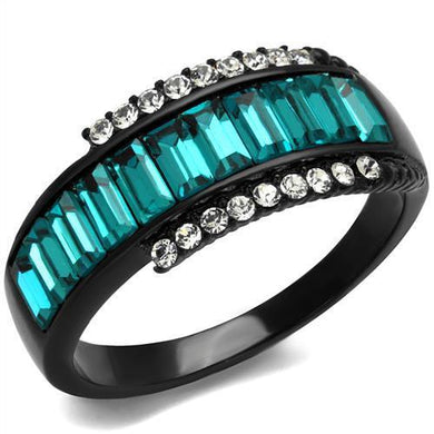 TK2190 - IP Black(Ion Plating) Stainless Steel Ring with Top Grade Crystal  in Blue Zircon