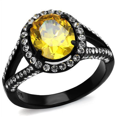 TK2193 - IP Black(Ion Plating) Stainless Steel Ring with AAA Grade CZ  in Topaz