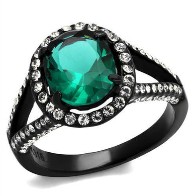 TK2202 - IP Black(Ion Plating) Stainless Steel Ring with Synthetic Synthetic Glass in Blue Zircon