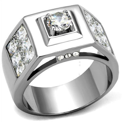 TK2220 - High polished (no plating) Stainless Steel Ring with AAA Grade CZ  in Clear