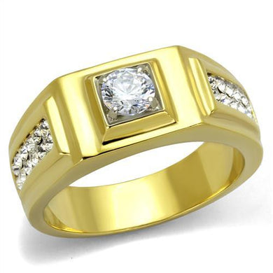 TK2222 - Two-Tone IP Gold (Ion Plating) Stainless Steel Ring with AAA Grade CZ  in Clear