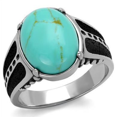 TK2228 - High polished (no plating) Stainless Steel Ring with Synthetic Turquoise in Turquoise