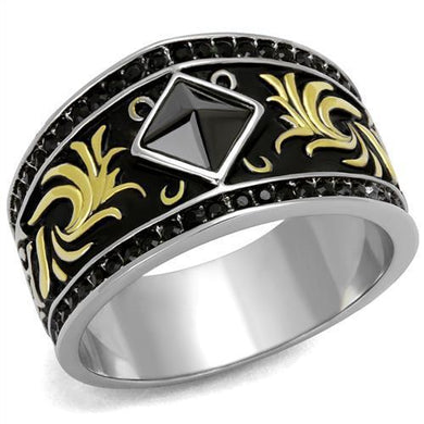TK2232 - Two-Tone IP Gold (Ion Plating) Stainless Steel Ring with Synthetic Synthetic Glass in Jet