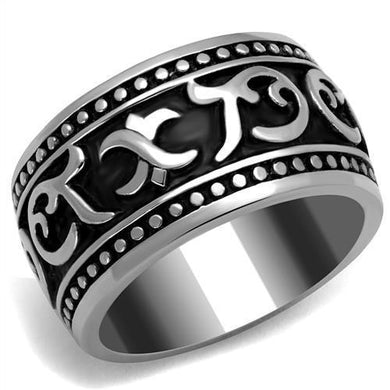 TK2233 - High polished (no plating) Stainless Steel Ring with Epoxy  in Jet