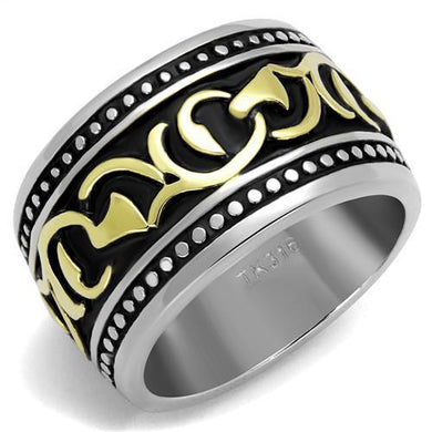 TK2234 - Two-Tone IP Gold (Ion Plating) Stainless Steel Ring with Epoxy  in Jet