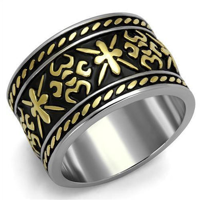 TK2236 - Two-Tone IP Gold (Ion Plating) Stainless Steel Ring with Epoxy  in Jet