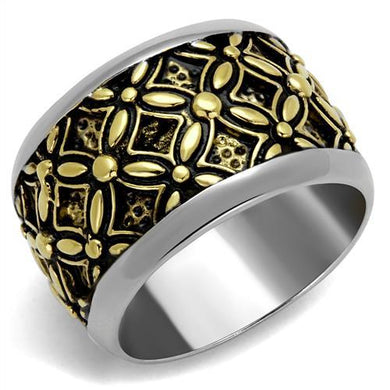 TK2237 - Two-Tone IP Gold (Ion Plating) Stainless Steel Ring with Epoxy  in Jet