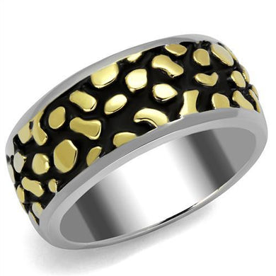TK2238 - Two-Tone IP Gold (Ion Plating) Stainless Steel Ring with Epoxy  in Jet