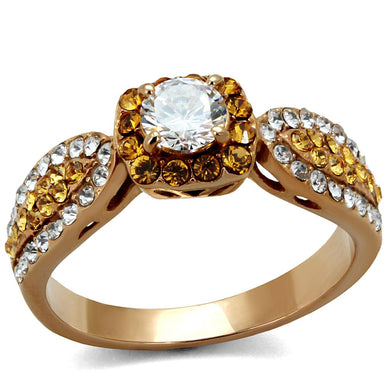 TK2250 - IP Rose Gold(Ion Plating) Stainless Steel Ring with AAA Grade CZ  in Clear
