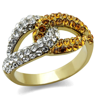 TK2251 - Two-Tone IP Gold (Ion Plating) Stainless Steel Ring with Top Grade Crystal  in Topaz