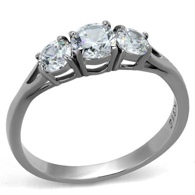 TK2260 - High polished (no plating) Stainless Steel Ring with AAA Grade CZ  in Clear
