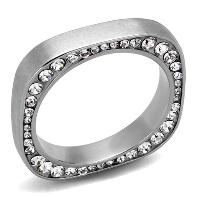 TK2261 - High polished (no plating) Stainless Steel Ring with Top Grade Crystal  in Clear
