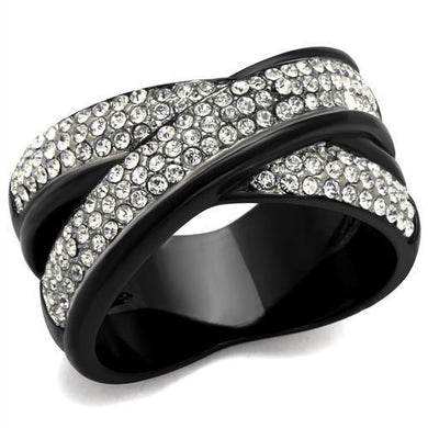 TK2278 - Two-Tone IP Black (Ion Plating) Stainless Steel Ring with Top Grade Crystal  in Clear