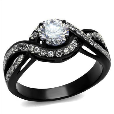 TK2282 - Two-Tone IP Black (Ion Plating) Stainless Steel Ring with AAA Grade CZ  in Clear
