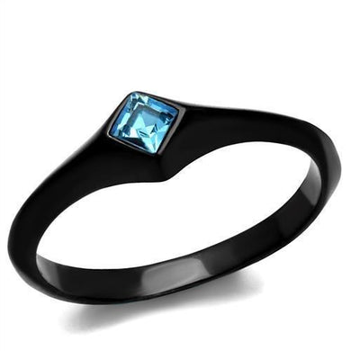 TK2284 - IP Black(Ion Plating) Stainless Steel Ring with Top Grade Crystal  in Sea Blue