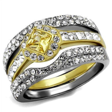 TK2291 - Two-Tone IP Gold (Ion Plating) Stainless Steel Ring with AAA Grade CZ  in Topaz