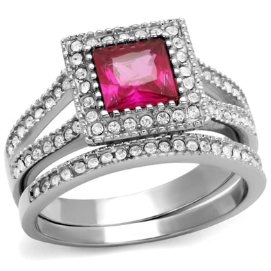TK2293 - High polished (no plating) Stainless Steel Ring with AAA Grade CZ  in Ruby