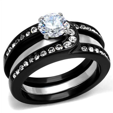 TK2303 - Two-Tone IP Black (Ion Plating) Stainless Steel Ring with AAA Grade CZ  in Clear
