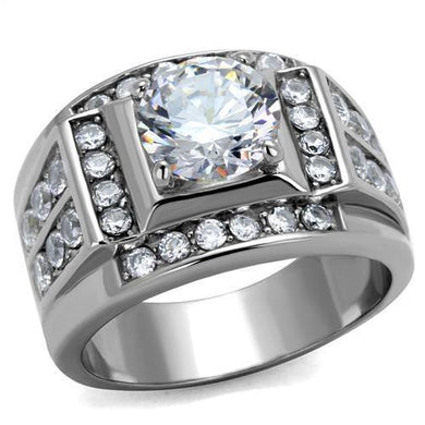 TK2305 - High polished (no plating) Stainless Steel Ring with AAA Grade CZ  in Clear